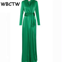 Wrap Dress Bandage With Belt Womwns Long Sleeve Floor Length Deep V Neck Green Solid Color