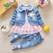 Anlencool children's wear autumn new jeans childrens 3 pieces set girls clothing leisure suits baby girls 0-2 years clothing set