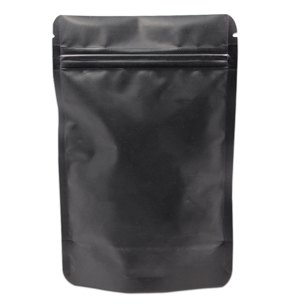 Matte Black Stand Up 200Pcs Lot Pure Aluminum Foil Zip Lock Packing Pouch Reclosable Doypack Mylar