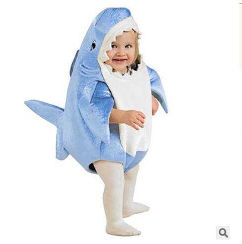 Kids children Attack blue Shark Costume Party Mascot animal Costume Jumpsuit Halloween F ...