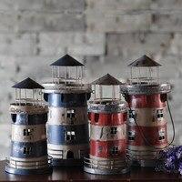 New Mediterranean Style Candle Holders Wrought Iron Creative Nostalgic Retro Lighthouse Candlestick Bar Home Decoration