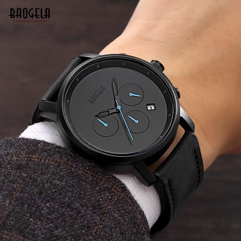 BAOGELA Men's Simple Design Chronograph Quartz Watches Fashion Leather Strap Analogue Wrist Watch for Man Waterproof 1705Black