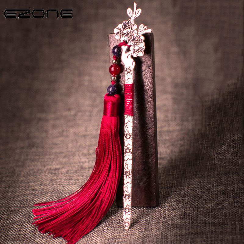 EZONE Antique Metal Bookmark Handmade With Colorful Tassel Beads Traditional Chinese Style Vintage BookMark School Office Supply