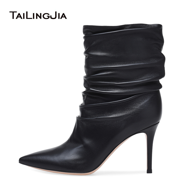 5534bca32813 Women Point Toe High Heel Pleated Black Ankle Boots Nude Slip on Slouch  Booties Ladies Winter Shoes 2018 Big Size Heels Boots