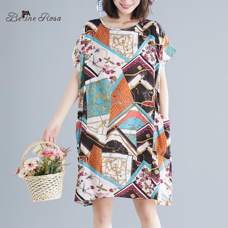 Belinerosa Palace Retro Style Print Dress 3xl 4xl 5xl Plus Size Women Tunic Raglan Sleeve Colorful Women Dress Wsdm0002 Top Watermelons Women's Clothing