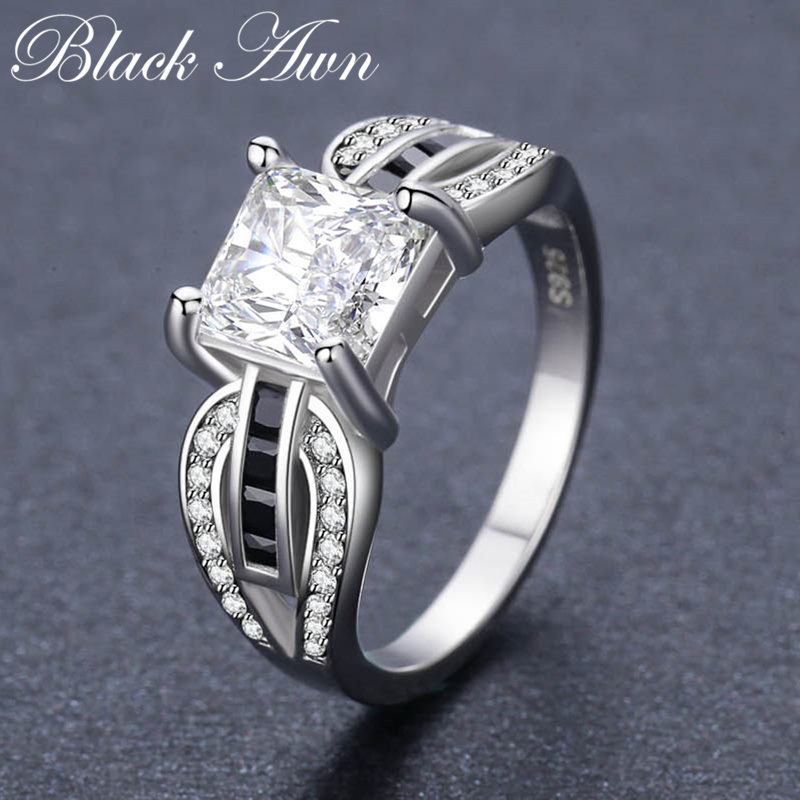 Hyperole 3.9g 925 Sterling Silver Fine Jewelry Geomentric Bague Black Spinel Engagement Rings For Women  Bijoux C489