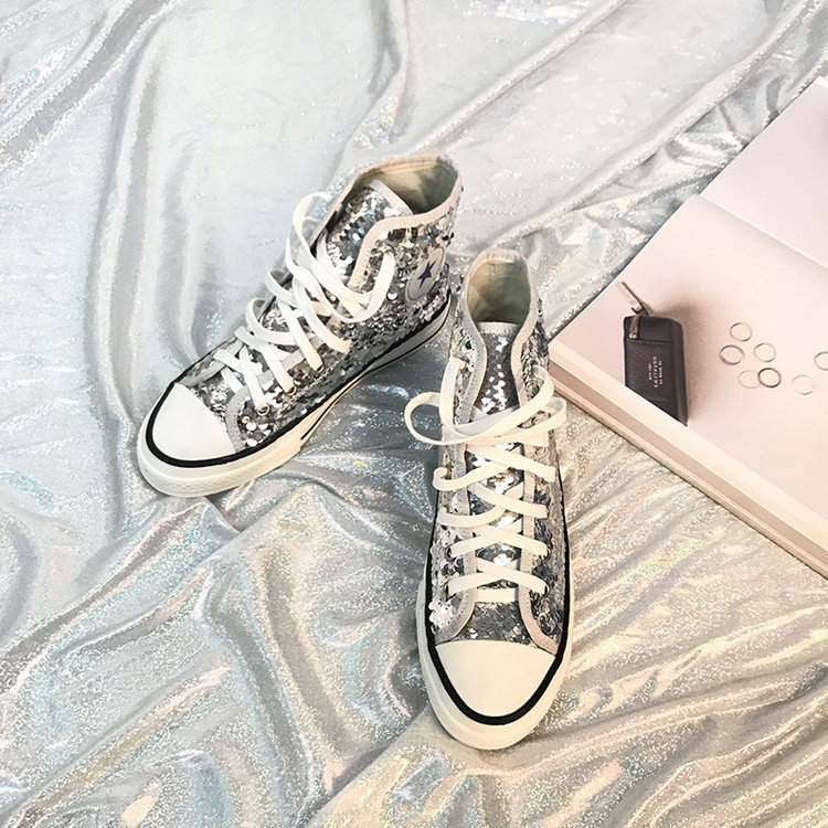 Tleni 2018 New High Top White Women Flats running Shoes Ladies Canvas Shoes lace-up Bling Bling sneaker shoes ZK-20 15