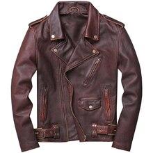 Винтажная коричневая Мужская Американская мотоциклетная кожаная куртка размера плюс XXXXXL Натуральная Воловья кожа Весенняя байкерская куртка
