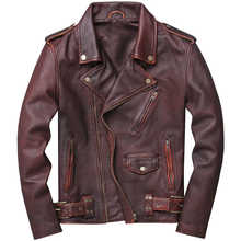 2019 Vintage Brown Men American Motorcycle Leather Jacket Plus Size XXXXXL Genuine Cowhide Spring Biker\'s Coat FREE SHIPPING - DISCOUNT ITEM  45% OFF Men\'s Clothing