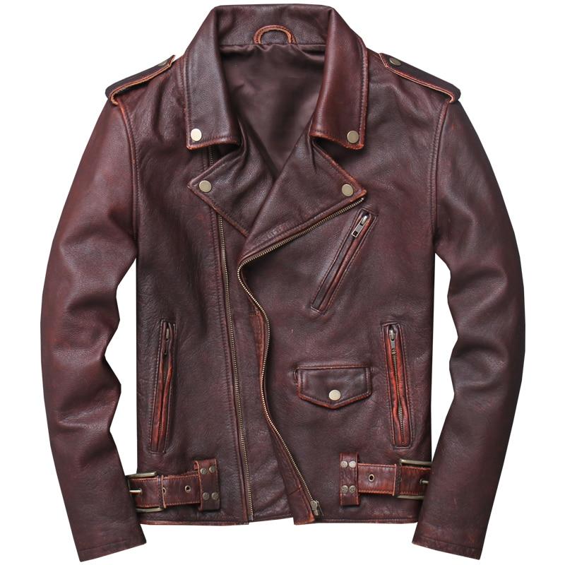 2019 ヴィンテージブラウンメンズアメリカのオートバイの革ジャケットプラスサイズ XXXXXL 本物の牛革春バイカーのコート送料無料  グループ上の メンズ服 からの 本革コート の中 1