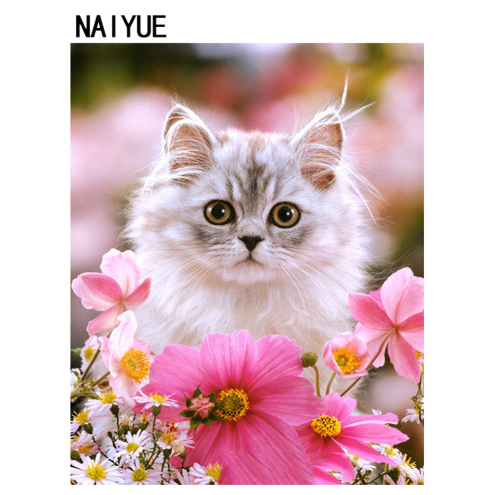Nai Yue Home Diy 5d Diamond Painting Cross Stitchwhite Cat Pink
