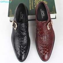 2019 Handmade buckle Luxury Brand Wedding Party Dress formal shoes Genuine Leather Flat Mens crocodile shoes oxford
