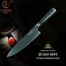 "YARENH 8 ""cuchillos de cocinero profesional con mango de madera pakka acero japonés damasco cuchillos de cocina cuchillos de cocina cuchillo de carnicero"