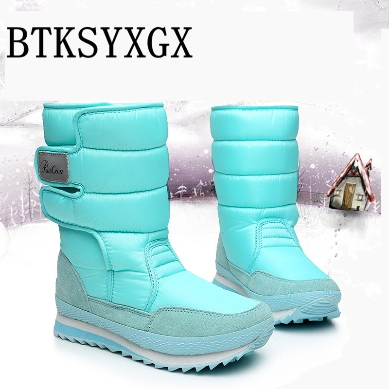 BTKSYXGS female 2017 New winter girls/women's snow boots fashion comfortable Non-slip thickening warm ladies/woman cotton shoes knitted winter warm female hat rabbit fur printed cap woman chunky baggy cap skull gorros de lana mujer bonnet femme beanie cap