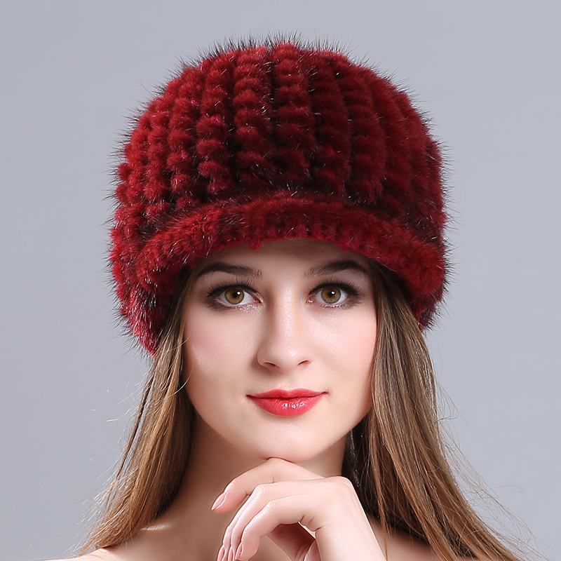 Fashion Classic Knitted Caps Winter Autumn Cap Solid Color 100% Real Mink Fur Hat Women Lady Girl Skullies Beanies  Russian hats 2017 classic russian women super good quality wool beanies hats with real fur ball knit caps solid skullies casual cap