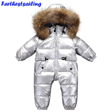 Winter Baby Romper Children Snowsuit Boy Thick Girl infant silver duck Down Jacket Kids Jumpsuits Overcoat waterproof Outwear все цены