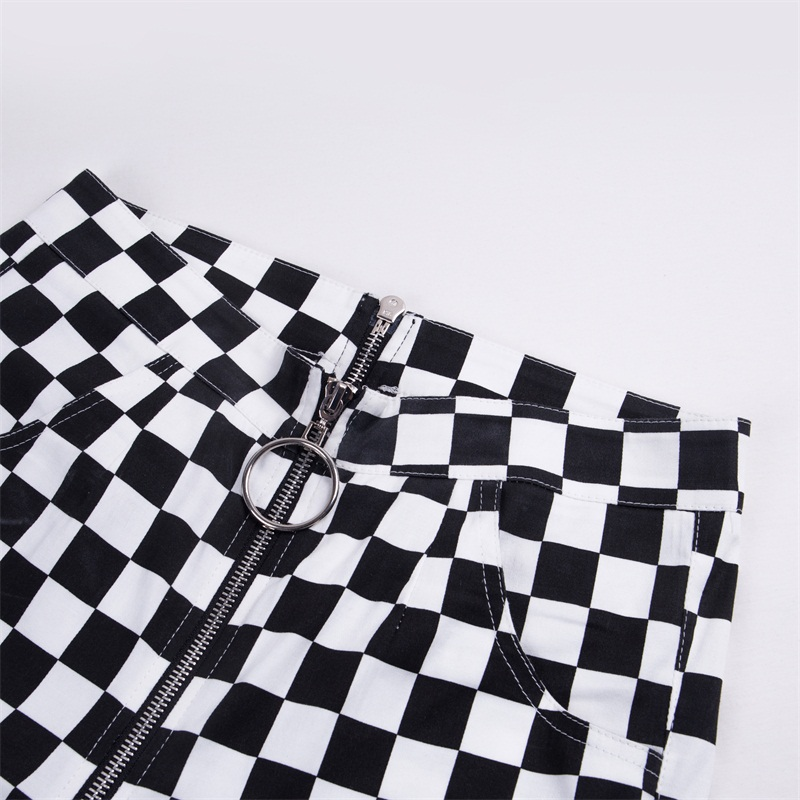 InstaHot Plaid Zipper Checkered Straight Pants Women Fashion Casual Slim Pockets Long Pants Black White Pencil Pantalon Femme 21