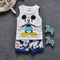 Free shipping 2017 baby boys summer cotton Cartoon 2pcs suit vest+short pants