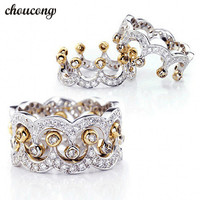 Choucong Crown Jewelry Women 925 Sterling Silver Ring Diamonique 5A Zircon Cz Engagement Wedding Band Rings