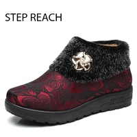 STEPREACH Brand Shoes Woman Winter Boots Snow Ankle Slip On Flat With Round Toe Solid Rubber