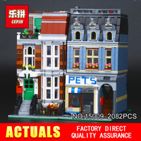 City Street Creator Pet Shop Supermarket Model LEPIN 15009 2082pcs Building Block Kids Toys Mini Figures