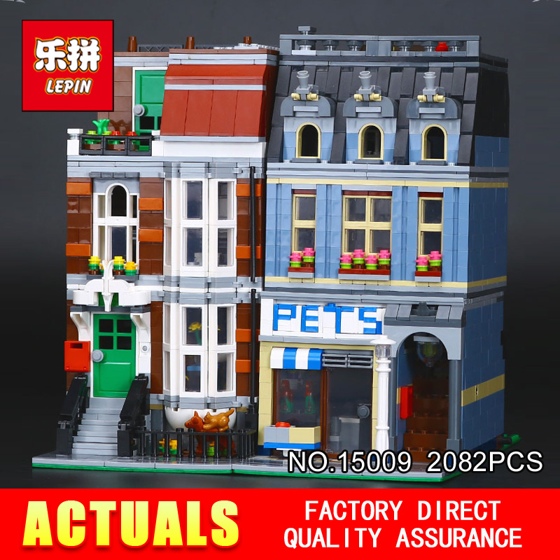 City Street Creator Pet Shop Supermarket Model LEPIN 15009 2082pcs Building Block Kids Toys  Compatible 10218 bricks decool 3114 city creator 3in1 vehicle transporter building block 264pcs diy educational toys for children compatible legoe