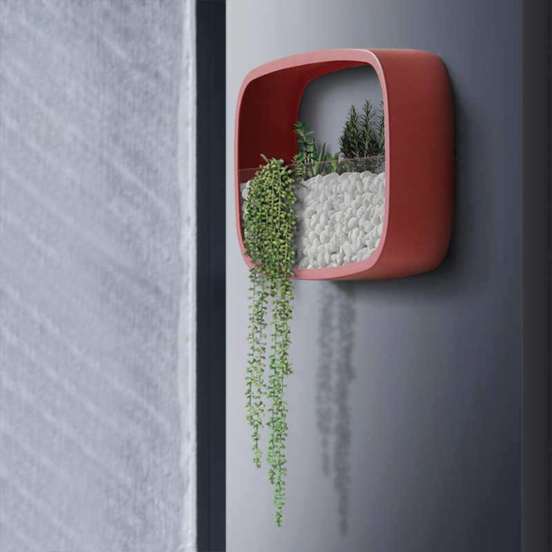 Простая стенная ваза растение суккулент в горшках настенная многофункциональная квадратное железо стеклянный цветочный горшок креативный орнамент в стиле бонсай Декор