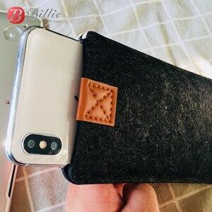 Image 4 - Sac de téléphone en laine feutre enveloppe sac à main sac pour iphone XS étuis couverture téléphone Mobile sacs faits à la main pour iphone xs max 6.5 pouces gris