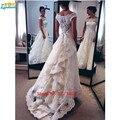 Vestidos de noivas 2017 Elegant Vintage Lace Wedding Dresses Boat Neck Cap Sleeve Bridal Gowns Custom Made Plus Size Handwork