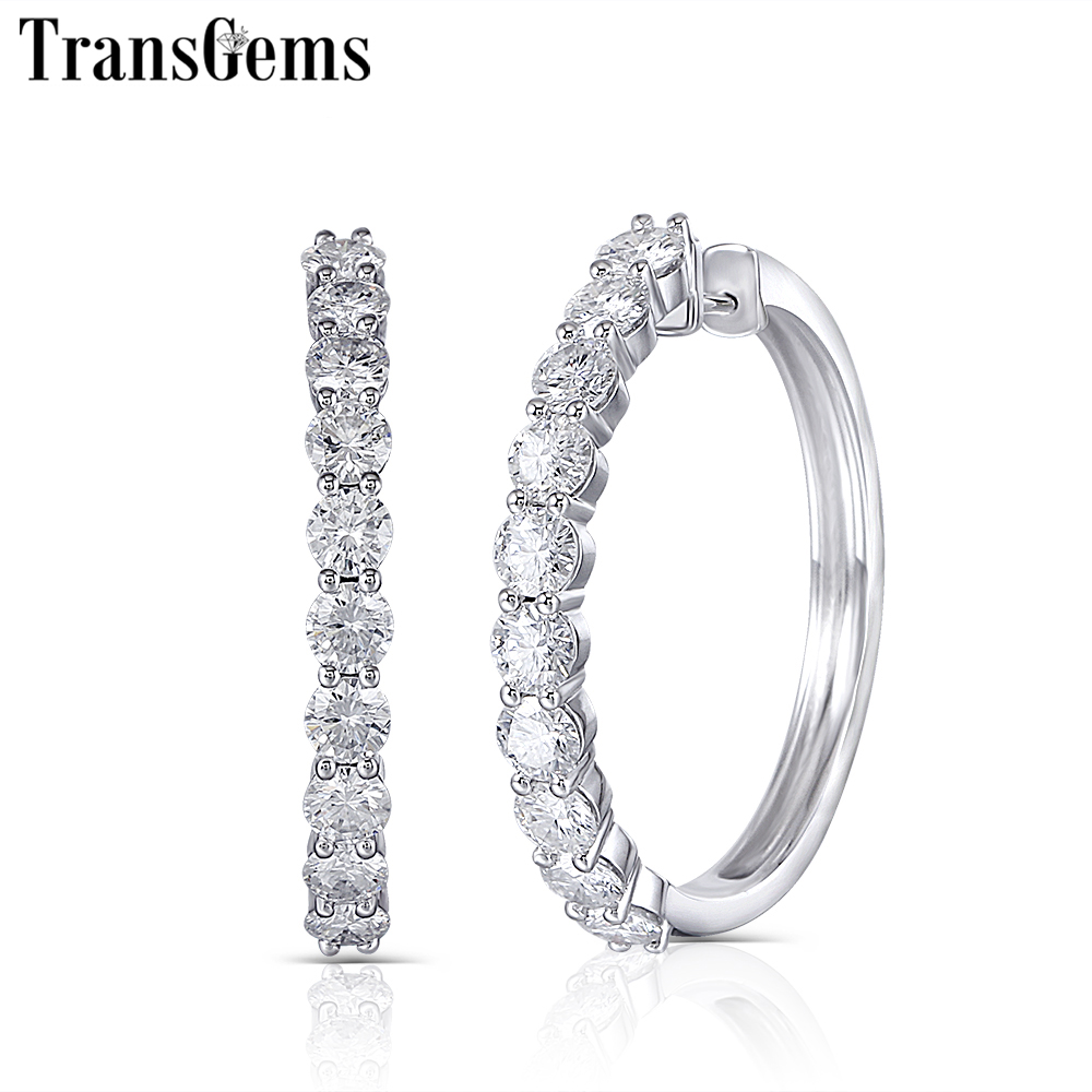 TransGems Big Size Solid 14K White Gold Moissanite Hoop Earrings for Women 4CTW 3.5mm F Color VVS Moissanite Diamond Earrings