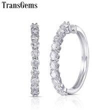 TransGems Big Size Solid 14K White Gold Moissanite Hoop Earrings for Women 4CTW 3.5mm F Color Diamond