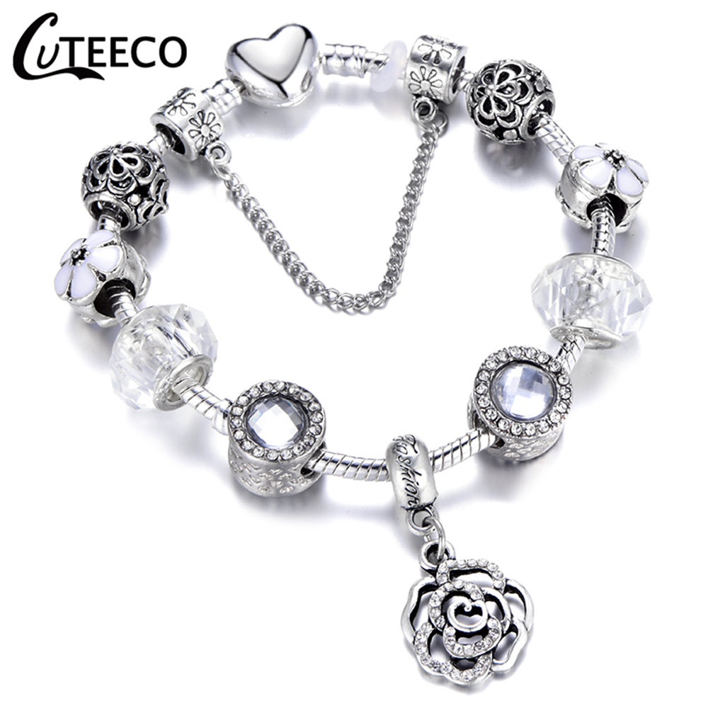 HTB1QMTDX5YrK1Rjy0Fdq6ACvVXa9 - CUTEECO Antique Silver Color Bracelets & Bangles For Women Crystal Flower Fairy Bead Charm Bracelet Jewellery Pulseras Mujer