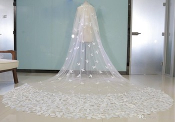 Real Image Butterfly Bridal Veils White Sheer Tulle Double Layers Crepe Long Veil Wedding Veils In Stock Bridal Accessories