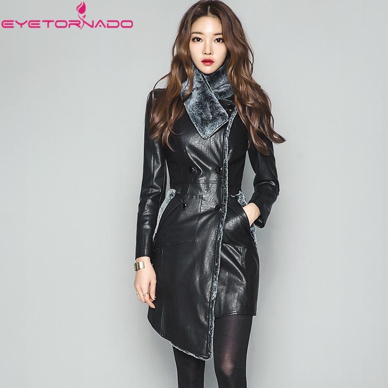 2018 High end autumn winter Fur scarf collar slim elegant faux   leather   Pu Jacket black double breasted irregular work warm coat