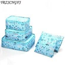 New Beautiful 6PCs/Set Packing Cubes Travel Bag Women High Quality Clothing Sort