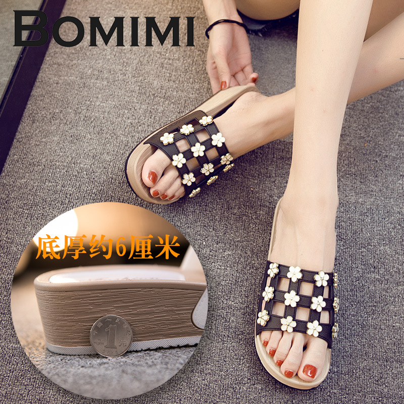 BOMIMI Women Flat Slippers Women Crystal Slippers Wedges Heel 6 CM Slip On Slides Beach Slippers Platform Flip Flops цена 2017
