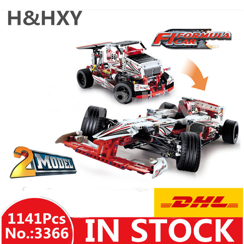 IN STOCK DHL H&HXY 3366 1141pcs Technic 2 In 1 F1 Formula Racing Car DECOOL Building Block Compatible 42000 Brick Toy in stock dhl decool 3333 building blocks toy 1 10 car model supercar red assemblage racing brain game gift clone 8145