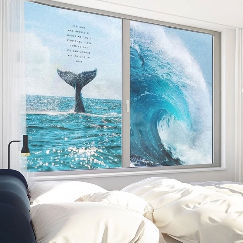 Sea wave Stained Frosted Glass Film Privacy Window Sticker Static Opaque bathroom anti peep kids room Custom Decals Home Decor in Decorative Films from Home Garden