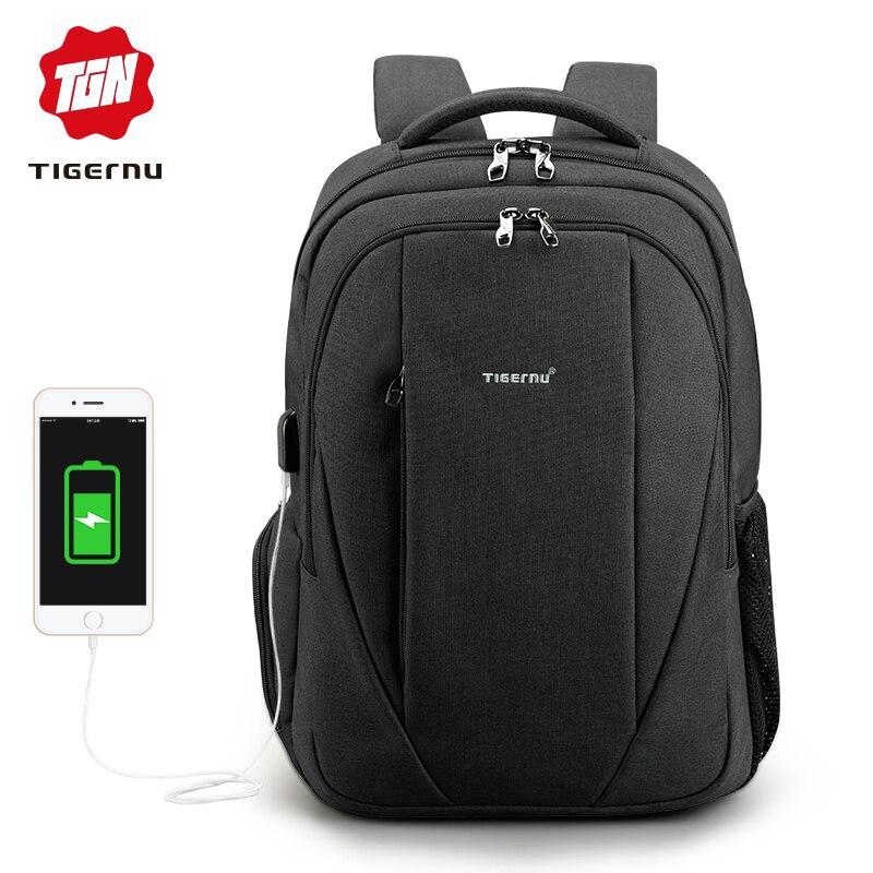 Tigernu бренд Черный насыщенный мужской Mochila 15.6 дюймов ноутбук рюкзак мужчины USB Сельма рюкзаки для девочек Водонепроницаемый школьный