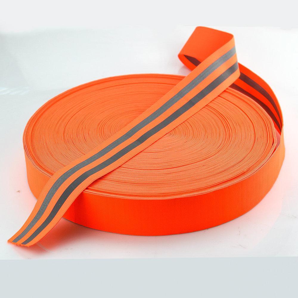 Silver Reflective Elastic Tape Band Cord Belt Fabric Safety Warning Tape 50mm x Double 10mm x