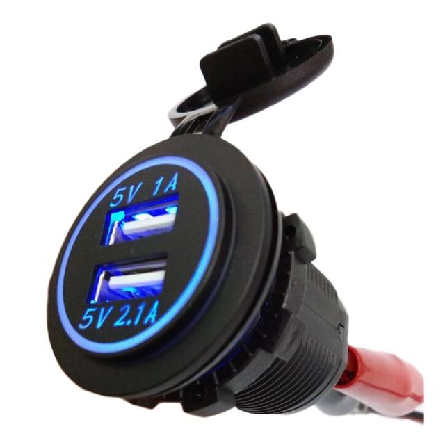 Car charger DC 12-24V Universal Waterproof Dual Car Cigarette Lighter USB 2 Port Power car Charger Socket 5V 2.1A/1A