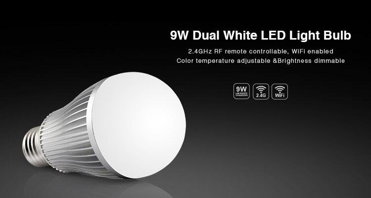 Ми свет 2.4 г 9 Вт E27 Беспроводной CW/<font><b>ww</b></font> двойной белый (холодный белый + теплый белый) светодиодная лампа Цвет temp отрегулировать