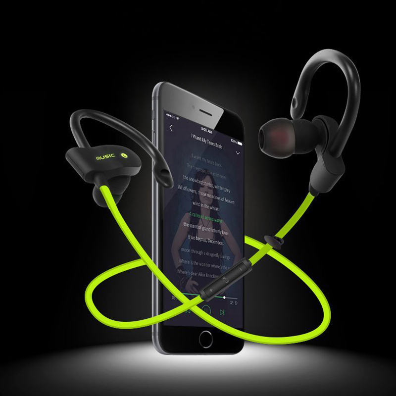 Wireless Bluetooth Earphone Stereo Earbuds Sports Headset Bass Earphones with Mic In-Ear for iPhone 6 Samsung Xiaomi Huawei leory l6 wireless bluetooth earphone sports heavy bass v4 0 edr earphones with mic wireless headset ear hook universal 4 colors