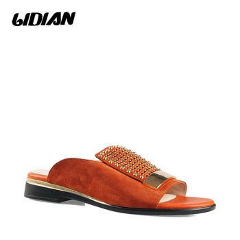 LIDIAN Luxury Woman Fashion Slippers High Quality Kid suede One band Soft Shoes Classic Solid Rivets SlippersB57