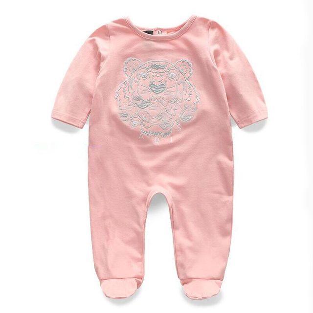 215 verano tiger head estilo media manga de algodón del bebé recién nacido muchacha del Niño del mameluco del bebé ropa de la muchacha 3-24 meses bebé ropa