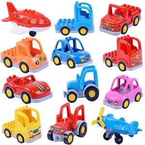 Image 1 - Coche de dibujos animados Compatible con Duploed City, camión agrícola, remolque, avión, modelo de muñeca, bloques de construcción, juguetes educativos para niños, regalos