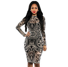 Vintage Tribal Tattoo Print Multi Colour Long Sleeve Autumn Pencil Dress  Retro Ethnic Dresses robe sexy dentelle 60942 8653f1601410