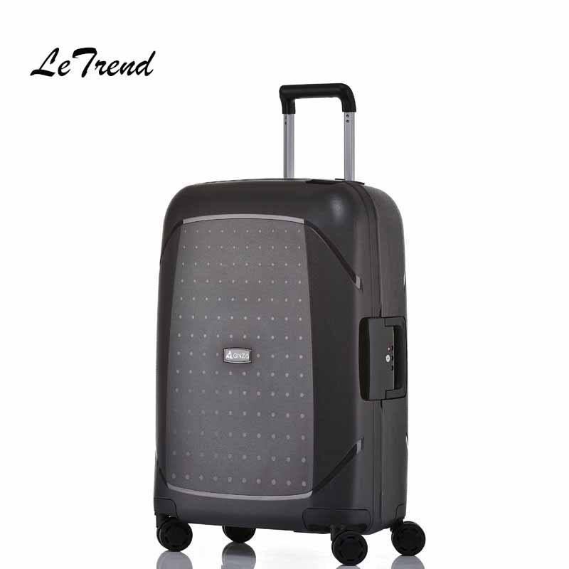 Letrend Fashion Rolling Luggage Spinner Ultralight Suitcases Wheels Trolley Women Travel Bag Student Cabin Luggage Trunk 2pcs car racing grille for ford fiesta 2014 2015 2016 grill abs black radiator chrome front bumper upper lower modify mesh