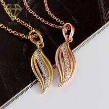 Christmas Gift New Design Hollow Leaf Pendant Inlaid Cubic Zircon Necklace /Rose Gold Color Vintage Chain for Women
