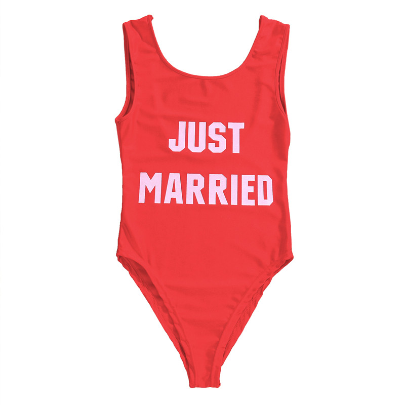 6e14cd4801bfb ITFABS Women sexy One Piece Swimsuit just married letter Monokini Bikini  plus size Swimwear women drop shipping one piece bikini